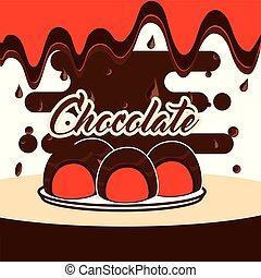 dulce, tarjeta, chocolate