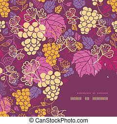 dulce, uva, vides, esquina, marco, patrón, plano de fondo