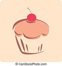 dulce, vector, retro, cupcake