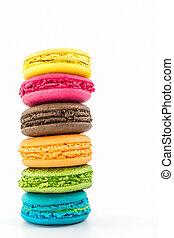 dulce, y, colorido, francés, macaroons.