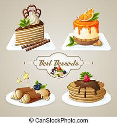 dulces, conjunto, postre