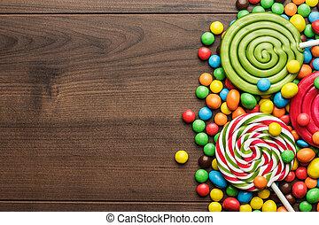 dulces, diferente, chupetes, colorido
