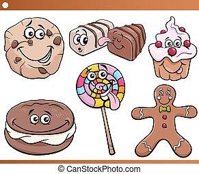 dulces, galletas, conjunto, caricatura