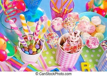 dulces, niños, fiesta, cumpleaños, tabla