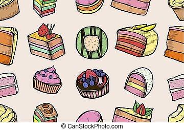 dulces, panadería, set.