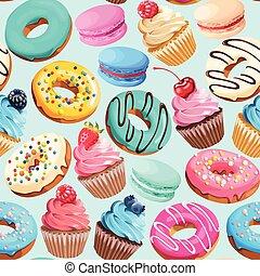 dulces, patrón, seamless