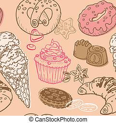 dulces, -, seamless, postres, vector, plano de fondo, pasteles