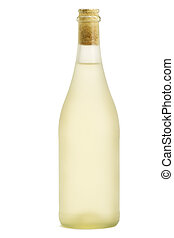 dull prosecco bottle standing on white background