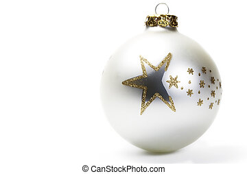 dull white christmas ball with golden stars on white background
