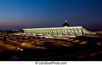 Dulles airport at dawn near Washington DC - Dulles Airport,...