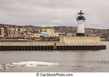 Duluth Lighthouse and Lake Superior