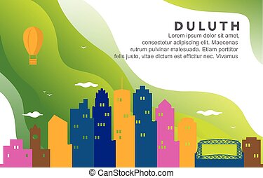 Duluth Minnesota City Building Cityscape Skyline Dynamic Background Illustration