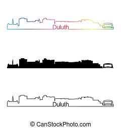 Duluth skyline linear style with rainbow in editable vector file