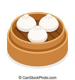 Dum sum dumplings in basket - Dim sum, traditional Chinese...