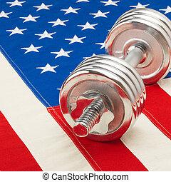 dumbbell, 以及, 美國旗, -, 1, 到, 1, 比率