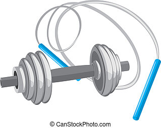 Dumbbell and jumping rope. Vector illustration
