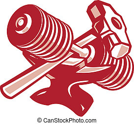 Illustration of a crossed dumbbell barbell and sledgehammer set inside oval done in retro woodcut style.