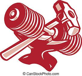 Dumbbell Anvil and Sledgehammer Retro - Illustration of a...
