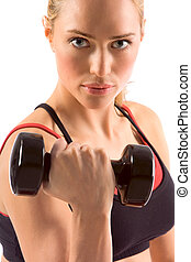 Dumbbell - black dumbbell in hand of working out blonde...