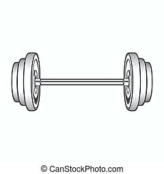 Dumbbell isolated on white background. Line art. Fitness...