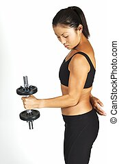 Dumbbell Curl - A female fitness instructor demonstrates a ...