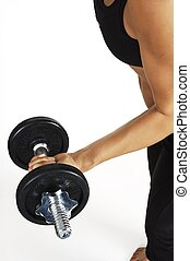 Dumbbell Curl - A female fitness instructor performs a...