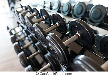 Dumbbell equipment in fitness gym room