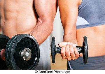 dumbbell, exercício, em, ginásio