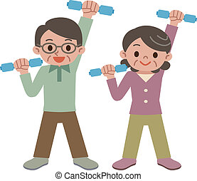 dumbbell exercise - Senior couple doing a dumbbell exercise....