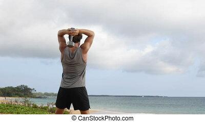 Dumbbell fitness exercises - Man training doing Dumbbell ...