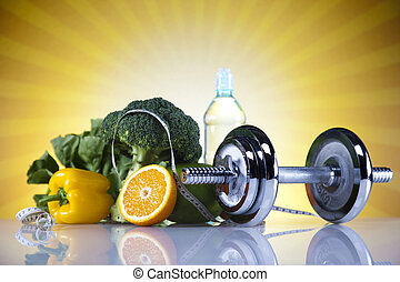 Dumbbell, fresh food and measure tape