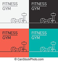 Dumbbell icon and background - Dumbbell vector icon and...