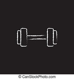 Dumbbell icon drawn in chalk. - Dumbbell hand drawn in chalk...