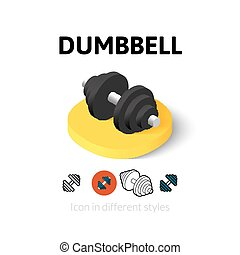Dumbbell icon in different style