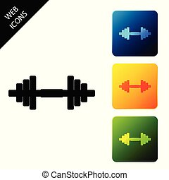 Dumbbell icon isolated on white background. Muscle lifting icon, fitness barbell, gym icon, sports equipment symbol, exercise bumbbell. Set icons colorful square buttons. Vector Illustration