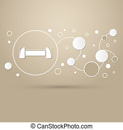 Dumbbell icon on a brown background with elegant style and modern design infographic.
