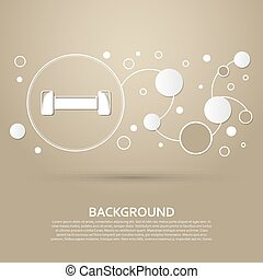 Dumbbell icon on a brown background with elegant style and modern design infographic. Vector