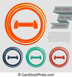 Dumbbell icon on the red, blue, green, orange buttons for your website and design with space text. Vector