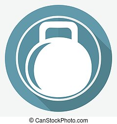 dumbbell icon on white circle with a long shadow