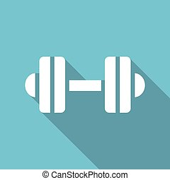 dumbbell icon with a long shadow