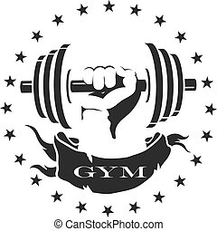 Dumbbell in hand silhouette - Dumbbell in a hand, symbol for...