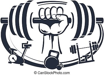 Dumbbell in hand symbol for sports