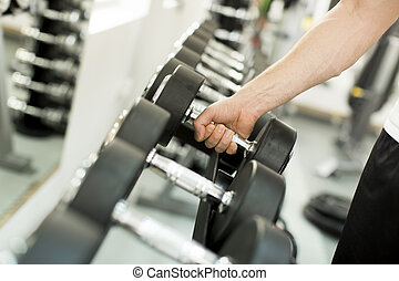 Dumbbell in the gym