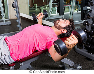 Dumbbell Incline Bench Flyes opening arms man