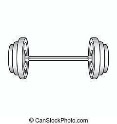 Dumbbell isolated on white background. Line art. Fitness...