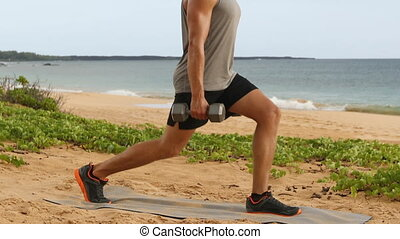 Dumbbell Lunges - fitness man doing Lunge exercise with dumbbells.