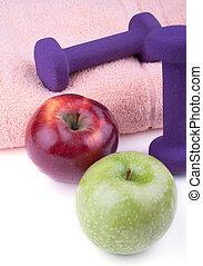 dumbbell, mela verde, rosso