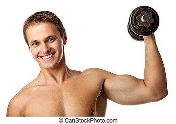 dumbbell, muscolare, uomo, giovane, sollevamento