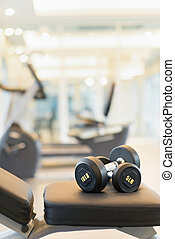 dumbbell on the exercise bench - Two dumbbells on the...