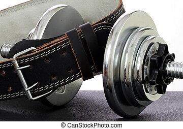 dumbbell, peso, cinturón